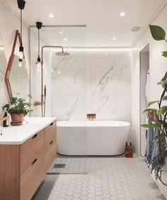 And bath, master bathroom tub, bathtub shower combo, vanity bathroom, moder Diy Bathroom Storage, Bathroom Tub Shower, Modern Bathroom Design, Amazing Bathrooms, Bathroom Makeover, Bathroom Interior Design, Bathroom Renovations, Bathroom Design, Best Bathroom Designs