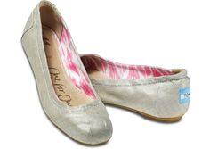 toms grey metallic linen ballet flats