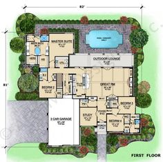 Abston Lane House Plan - Texas Style - First Floor Plan - i have a few problems with this plan, the only thing i really like is the master bath for sure