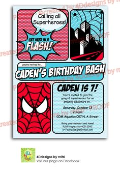 Spiderman - Calling all SUPERHEROES to this birthday party. $18.00, via Etsy.