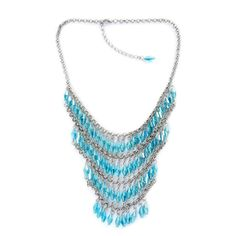 Making Waves Sky Blue Glass Necklace - 18-20 in. - Stainless Steel - FREE SHIP #na #Bib