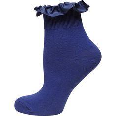 Dorothy Perkins Blue Grossgrain Trim Socks ($1.50) ❤ liked on Polyvore