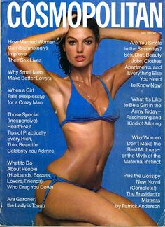 C osmopolitan magazine from Stephanie Seymour, Cosmopolitan Magazine, Instyle Magazine, Claudia Schiffer, Top Models, 1980s Pop Culture, Cosmo Girl, Pin Up, Crazy Man