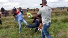 난민을 취재하던 한 헝가리 기자의 비인간적인 행동이 담긴 동영상이 공개돼 비난 여론이 들끓고 있습니다