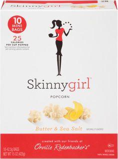 Skinny Girl Popcorn, Butter & Sea Salt, 15 Oz, 10 Ct
