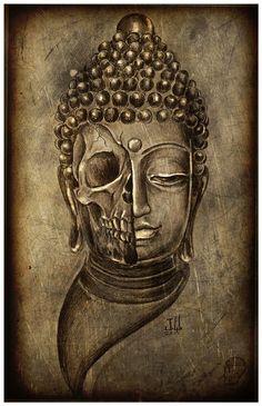 JEREMY WORST Buddha Skull Druck Original-Artworks von JeremyWorst