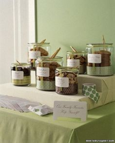 Party idea: Cookie buffet. Place homemade cookies in jars and let guests choose their favorites.