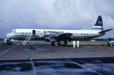 "Air New Zealand Lockheed L-188C Electra ZK-CLX ""Akaroa"" on the ramp at Auckland-Whenuapai, circa July 1965. The Air New Zealand name had been launched in April 1965 and this aircraft carries a hybrid livery that still includes the previous TEAL name on the tail. ZK-CLX was purchased from Qantas to replace ZK-TEC (also named ""Akaroa""), which had been written off in a bizarre training accident at the same aerodrome, 27th March 1965."