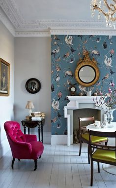 living rooms wall eclectic fireplace statement feature houzz simple decor fabulously designed wallpaperdirect fireplaces paint different sussex coverings interior bedroom