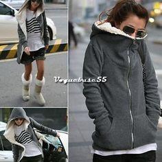 New Korea Women Zip Up Sweatshirt Long Sleeve Blouse Hoodie Coat Jacket VE4A Hot   eBay
