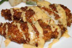Pretzel Chicken ith Mustard Cheddar Sauce