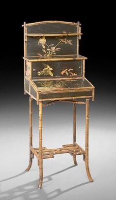 Anglo-Indian Black-Lacquered and bamboo Writing Stand