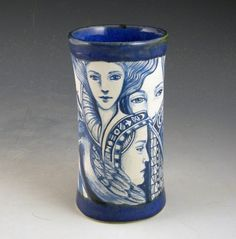 Blue and white intricate one of a kind porcelain by PSPorcelain