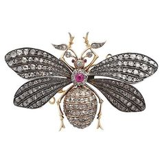 3.11 ct Diamond and Synthetic Ruby, 15 ct Yellow Gold Insect Brooch... ($9,305) ❤ liked on Polyvore featuring jewelry, brooches, gold diamond jewelry, gold jewellery, diamond jewellery, victorian brooch and antique jewellery
