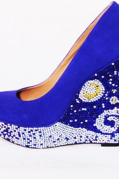 """As featured in """"The Good Life"""" section the Houston Chronicle!!! Wear your favorite painting on your shoes! These gorgeous, size 9, blue suede wedges have been embellished with thousands of rhinestones! They twinkle light the starry nights!    The wedges stand 6 in. tall!    As with any of Lauren Luna's designs, if there is ever any problems we will repair it at no charge!    If these shoes do not fit your fancy, Lauren Luna shoes will make you your dream shoe! www.KOLABoutique.com"""