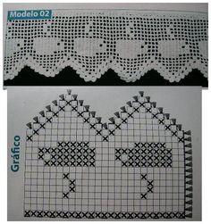 MIRIA CROCHÊS E PINTURAS: BARRADO DE CROCHÊ COM MOTIVOS DE BULES Crochet Curtains, Tapestry Crochet, Crochet Doilies, Crochet Lace, Crochet Borders, Filet Crochet, Crochet Stitches, Doily Patterns, Crochet Patterns