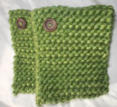 Basil Green Garter Stitch Knit Boot Cuffs by toastalope on Etsy, $18.50