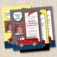 Little Fireman and His Firetruck Custom Birthday Party Invitation Design at www.TintsAndPrints.etsy.com