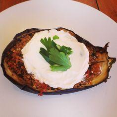Roasted Tomato, Onion + Quinoa Eggplant Cups (vegan without yogurt)