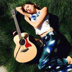 Always inspired by our Muse @briannafalcone wearing #violaparociette#parkerblue #parkerbluecashmere #music #guitar #flowers #greenpastures