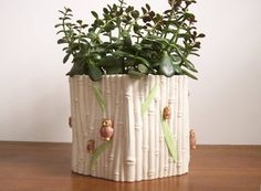 Faux Bamboo Planter with Owls on Etsy, $18.00
