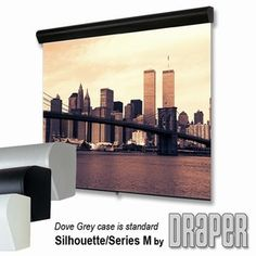 """Draper Silhouette/Series M Projector Screen  You Have Selected: Size (H x W): Video Format - 10' Diag. (72""""x96"""") Surface: High Contrast Grey"""