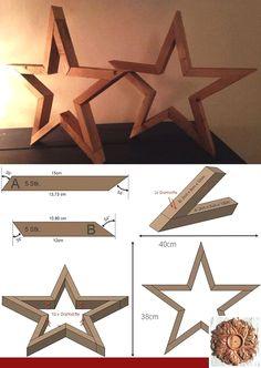 X17 10x Wooden Star Shape Stars Plain Tags Blank Hanging Decoration Craft