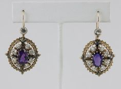 Stunning Victorian Styled Amethyst and Diamond Earrings