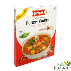 Priya Paneer Kadhai 300g Ready to eat food just microwave on high for 1 to 2 minutes and serve Serving per package:3 Ingredients: Water, Cottage cheese, Onion, Tomato, Refined rice bran oil, Capsicum, Cashew nuts, Dry red chilli, Ginger, Garlic, Cumin, Salt, Coriander, Fennel, Turmeric, Cardamom, Cinnamon, Clove and Anistar. Product of India