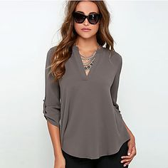 Women's Solid Red / Gray Blouse , V Neck Long Sleeve – USD $ 12.50