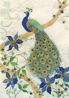 Clematis Peacock by Amy Butcher Peacock Painting, Peacock Art, Peacock Design, Fabric Painting, Peacock Crochet, Peacock Drawing, Hand Embroidery, Machine Embroidery, Embroidery Designs