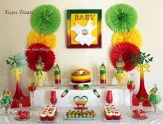 Rasta themed baby shower candy