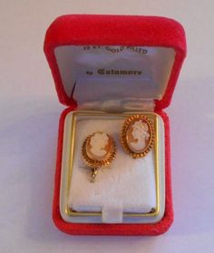 Antique Shell Cameo Earrings Lady 12 Karat Gold Filled by Catamore Box     4229