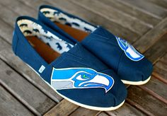 Hand Painted Seattle Seahawks Navy Canvas Classic by BStreetShoes