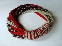 DIY Easy Braided Yarn Cowl : 6 Steps (with Pictures) - Instructables Freeform Crochet, Crochet Yarn, Crochet Scarves, Yarn Necklace, Yarn Braids, T Shirt Yarn, Scarf Shirt, Handmade Scarves, Handmade Gifts