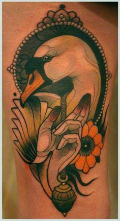 Ideas For Traditional Tattoo Designs Frames Side Neck Tattoo, Shoulder Tattoo, Swans, Schwan Tattoo, Body Art Tattoos, Sleeve Tattoos, Art Deco Tattoo, Framed Tattoo, Traditional Tattoo Design
