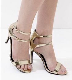 """LADIES/WOMEN'S 3.5"""" INCHES GOLD PATENT DOUBLE ANKLE STRAP HEELS UK SIZE 5 EUR 38"""