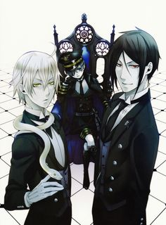 Snack, Ciel, and Sebastian - Black Butler <<<umm I think it's supposed to be snake not snack XD