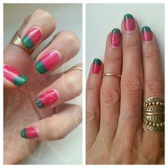 Summer water melon ombre nails! #getcreative #summernails #brightcolors