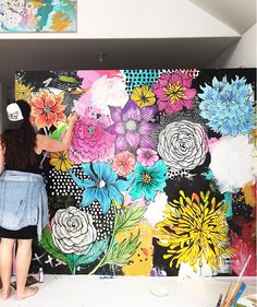 I've been busy preparing for my Petals and Paint Art Retreat  in October and part of the process is painting a new mural in the studio. It...