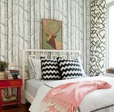 LOVE LOVE LOVE the layers of patterns  !! Got to be one of my favorite rooms I have ever seen. NEED that walpaper (anthropologie).