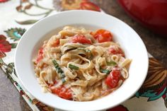 Barefeet In The Kitchen: 20 Minute One Pot Pasta with Fresh Tomatoes and Basil