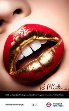 Gold painted lips.