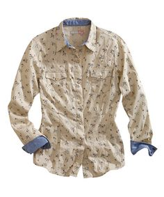 Take a look at this Tin Haul Off-White Floral Button-Up by Tin Haul on #zulily today!