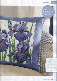 Irises cross stitch pillow - See pages 1 and 2 for pattern and color chart.