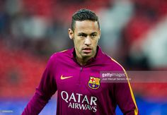Neymar of FC Barcelola reacts on prior to the start the Copa del Rey Quarter Final First Leg match between Athletic Club and FC Barcelola at San Mames Stadium on January 20, 2016 in Bilbao, Spain.