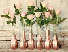 Rose Gold vases, gold wedding decor,  Set of 6 rose gold dipped bud vases, rose gold painted budvase, wedding table decor, vase collection by thepaisleymoon on Etsy https://www.etsy.com/listing/254664648/rose-gold-vases-gold-wedding-decor-set