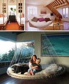 Suspended beds... great for outdoor sun   rooms or porches. Probably not too hard to make, either!