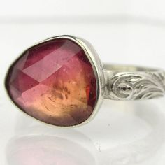 Rose Cut Golden Pink Tourmaline Sterling by PassionateJewelry, $112.00