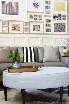 Grey Leather Sofa and Gallery Wall | www.decorchick.com